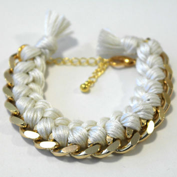 White woven chain friendship bracelet