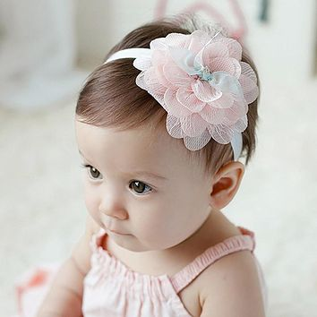 Baby Girl Headband Lace Big Flower Baby Girl Hairband Head Wrap Elastic Hair Band Newborn Photography Props Accessories BHW-002