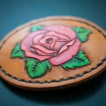 Rose Belt Buckle ~ Women's Leather Western Belt Buckle ~ Western Cowgirl Accessories ~ Hand Tooled Veg Tanned Leather