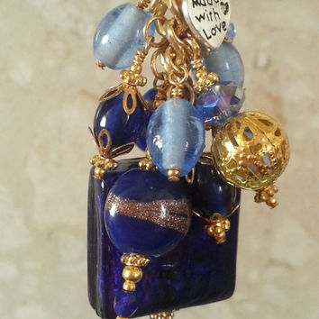 Vintage Style Royal Cobalt Blue Beaded Bag Charm, Silver Foil Murano Style Glass Tile, Teacher Thank you Gift Present, Lampwork Beads #41