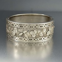 English Aesthetic Wide Silver Cuff Bracelet C 1900