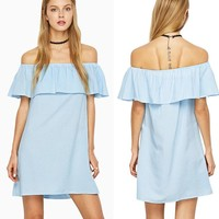 ZAFUL Casual Loose Women Dresses Sexy Slash Neck Off Shoulder Butterfly Mini Dress Summer Holiday Beach Femme