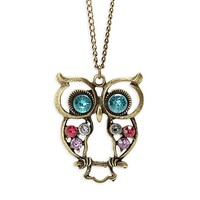 KATGI Classical Style Crystal Owl Design Sweater Chain Pendant Necklace:Amazon:Jewelry