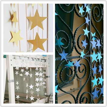 4m Star Paper Garland Banner Bunting Drop Baby Shower Wedding Party Decoration