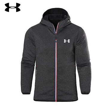 Under Armour Men Fashion Print Hoodie Zipper Cardigan Jacket Coat Windbreaker Black