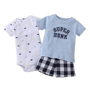 summer baby clothes baby boy girl letter print T-shirt+bodysuit cotton+plaid shorts newborn 3 piece clothing set for 6-24 month
