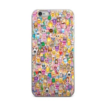 Panda Burger Purple Devil Heart Eyes Sun Poop Alien Monkey Rocket Diamond Girl Boy Emoji Collage Cute Girly Girls Pink iPhone 4 4s 5 5s 5C 6 6s 6 Plus 6s Plus 7 & 7 Plus Case