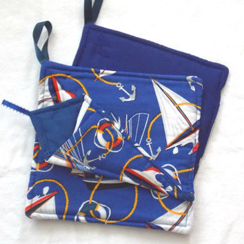 Nautical Kitchen Potholders and Scissor holder, 3 pc set Ships Handmade by Sewinggranny