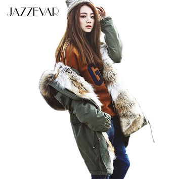 2016 New Fashion women's army green Large raccoon fur collar hooded long coat parkas outwear rabbit fur lining winter jacket