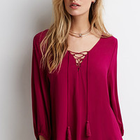 Tasseled Self-Tie Peasant Top