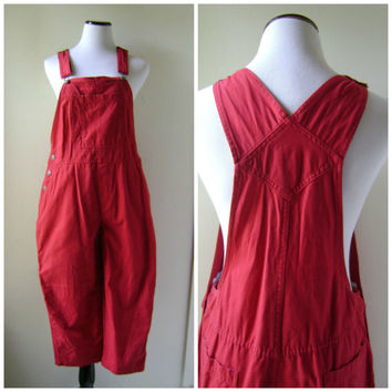 90s Red Overall Pants Romper Vintage Cotton Ladies Size S/M Small Medium Dungarees 1990s Hipster Boho Jumper Womens Bibs One Piece Jumpsuit