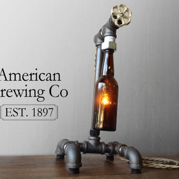 Brewery Bottle Lamp - Faucet Switch - Industrial Furniture - Pipe Fixture - Man Cave - Dorm Room Decor