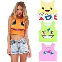 Trendy Pokemon Sleeveless Crop Top Women's Cartoon Vest