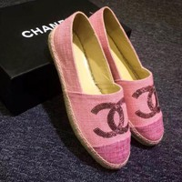 """Chanel"" Trending Ladies Casual Logo All-Match Sequin Weave Canvas Flats Shoes Single Shoes Pink I"