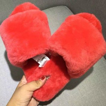 UGG: wool in one word drag Fashion Casual slippers 4 Color Watermelon Red G
