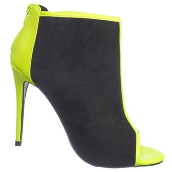 Dashing30 Peep Toe Neon Bootie - Women Color Trimming High Heel Ankle Boots
