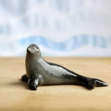 Animal Totem Fur Seal, seal totem, seal figurine, home decor, tiny zoo, brown grey and blue, wild sea marine animals, nautical