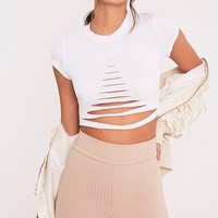Keya White Ripped Shortsleeve Crop T Shirt