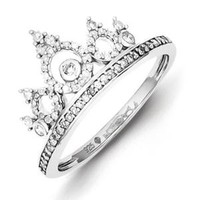 Walmart: Sterling Silver Rhodium Plated Diamond Crown Ring. Carat Wt- 0.3ct