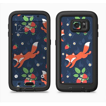 The Running Orange & Navy Vector Fox Pattern Full Body Samsung Galaxy S6 LifeProof Fre Case Skin Kit