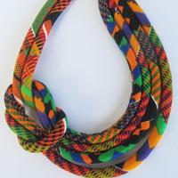 Summer necklace/ Bib Necklace, Kente fabric necklace.