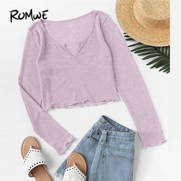 ROMWE Purple Lettuce Trim V Cut Neck Crop Tee Female Casual Slim Fit Long Sleeve 2018 Autumn Plain Tops Spring Pullovers T-shirt