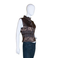 1970s Vest,  Embroidered, Chocolate Brown, Amber Rhinestones, Made in India, Boho, Hippie, Vintage Vest
