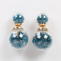 Blue Ball Stone Earrings