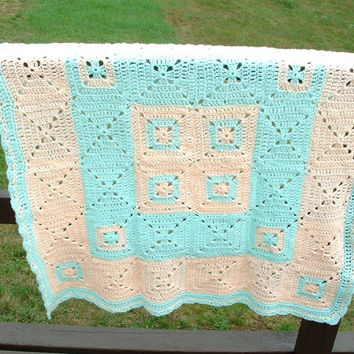 Crochet Baby Blanket, Granny Square Afghan, Lap Throw, Crib Blanket, Peach and Green, Handmade, Crochet Afghan, Knitted Blanket, Baby Gift