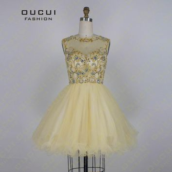 Real Photos Gold Color Tulle Hand Make Short Party Dress High Neck Corset Ball Gown Prom Dresses OL102673