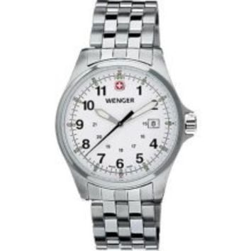 Wenger Terragraph White Dial Stainless Steel Mens Watch 72789