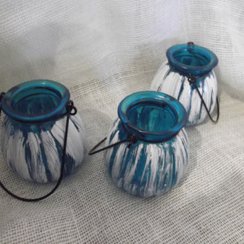 3 Small Shabby White and Blue Lanterns, hanging Lanterns, Blue Lanterns, Candle lanterns, Distressed Lanterns