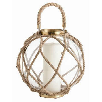 Arteriors Home Cormac Glass/Jute/Iron Lantern, Large - Arteriors Home 6988