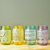 Festive Spring Mason Jars- Handpainted Moroccan Inspired Mason Jars with Pearl White Detailing