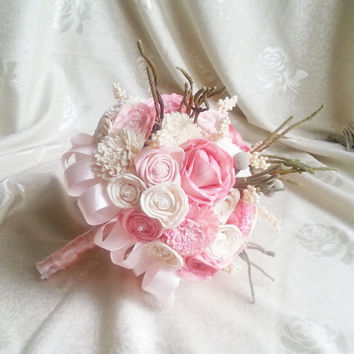 Cream pink rustic wedding BOUQUET natural Ivory sola Flowers, hand dyed pink, brunia berry, sorgo, satin ribbon, pearls, pastel, custom
