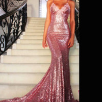 Spaghetti Strap Mermaid Pink Sequin Evening Dress