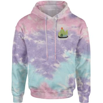 Embroidered Cactus Succulents Patch (Pocket Print) Tie-Dye Adult Hoodie Sweatshirt