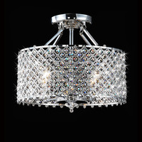 Chrome/ Crystal 4-light Round Ceiling Chandelier | Overstock.com