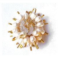 Safety pins bridal pendant with freshwater pearls  sun inspired - one of a kind