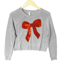 Bethany Mota Sequin Bow Cropped Ugly Christmas Sweater