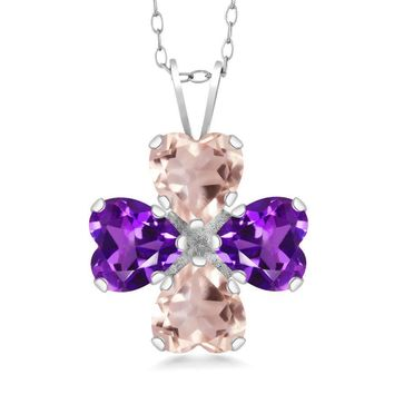 2.88 Ct Heart Shape Rose Quartz and Purple Amethyst 925 Sterling Silver Pendant