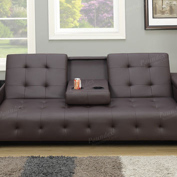 Poundex F7202 Silia collection espresso faux leather folding futon sofa bed with storage in the arms