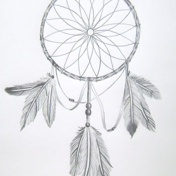 Dream Catcher Original Drawing 11X14 black and white pencil feathers wall art