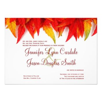 Autumn Leaves Fall Wedding Invitations