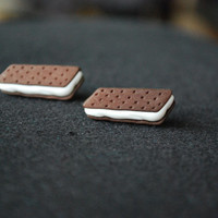 Ice Cream Earrings -- Ice Cream Sandwiches, Ice Cream Studs, Witty Earrings, Fun in the Sun