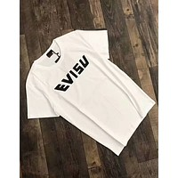 EVISU 2018 new men's tiger three-dimensional printing short-sleeved T-shirt F-A-BM-YSHY White