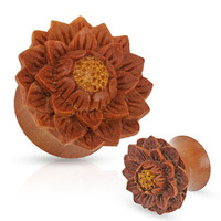 Organic Jackfruit Wood Hand Carved Lotus Plugs