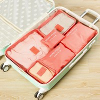 Fashion Double Zipper Waterproof Polyester Luggage Travel Suitcase Organizer (6 pcs / Set)