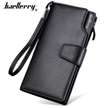 Card holder Leather Wallet men Long Design Quality passport cover Fashion Casual Mens Purse Zipper Multi-function coin purse 7X