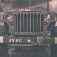 Fine Art Photography Vintage Military Jeep Marine Corps Jeep Army Jeep Photo Michigan Art Man Cave Wall Decor Black and White Print